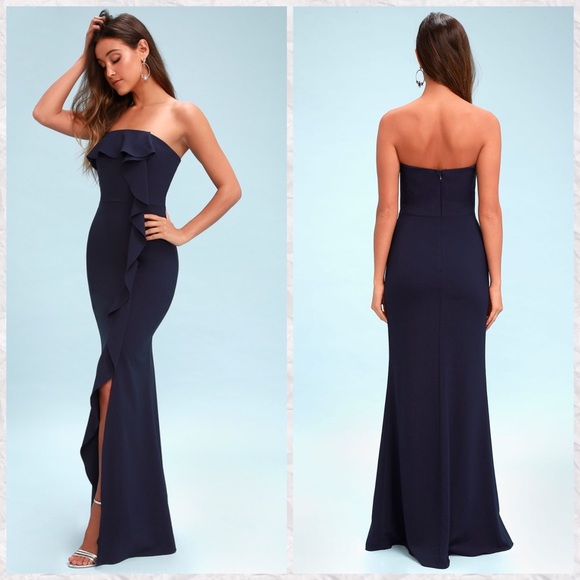 4e7621187898 Lulu's Dresses | Lulus Valerie Strapless Ruffle Maxi Dress | Poshmark
